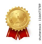 vector gold medal with red... | Shutterstock .eps vector #1166473789