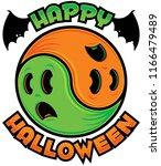 happy halloween ghost yin yang. ... | Shutterstock .eps vector #1166479489