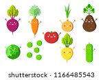 set of happy vegetables icons.... | Shutterstock .eps vector #1166485543