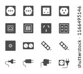 sockets and plugs vector icons... | Shutterstock .eps vector #1166495146