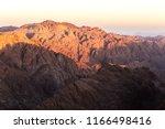 Mount Sinai (Mount Horeb, Gabal Musa, Moses Mount). Sinai peninsula mountains at sunrise. Egypt, Africa