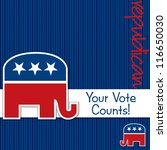 """""""Your Vote Counts"""" Republican election card/poster in vector format. - stock vector"""