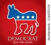 """Democrat Your Vote Counts"" election card/poster in vector format. - stock vector"