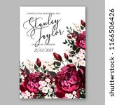 marsala peony wedding invitation | Shutterstock .eps vector #1166506426