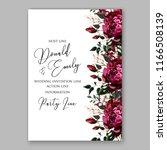 marsala peony wedding invitation | Shutterstock .eps vector #1166508139