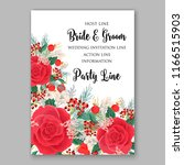 red rose wedding invitation... | Shutterstock .eps vector #1166515903