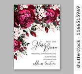 marsala peony wedding invitation | Shutterstock .eps vector #1166515969