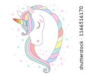 white unicorn head vector... | Shutterstock .eps vector #1166516170