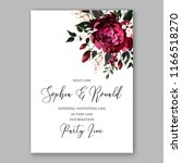 marsala peony wedding invitation | Shutterstock .eps vector #1166518270