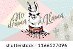 no drama llama  cute cartoon... | Shutterstock .eps vector #1166527096