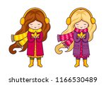 cute cartoon girl  holding...   Shutterstock .eps vector #1166530489