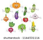 cartoon vegetable characters... | Shutterstock .eps vector #1166531116