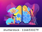 man doing human brain puzzle.... | Shutterstock .eps vector #1166533279