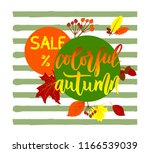 hand lettering colorful autumn... | Shutterstock .eps vector #1166539039