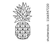 pineapple ananas icon vector... | Shutterstock .eps vector #1166547220