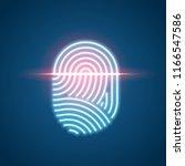 touch id neon icon  fingerprint ... | Shutterstock .eps vector #1166547586