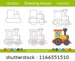 drawing lesson for children.... | Shutterstock .eps vector #1166551510