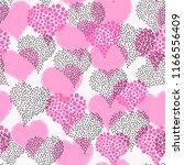 pink hearts pattern.... | Shutterstock .eps vector #1166556409