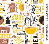coffee seamless pattern.vector... | Shutterstock .eps vector #1166558236