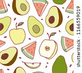 fruit seamless pattern. vector. | Shutterstock .eps vector #1166559019