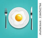 plate with fried eggs fork and...   Shutterstock .eps vector #1166562766