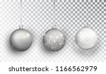 silver christmas tree toy set... | Shutterstock .eps vector #1166562979