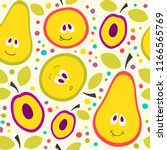 funny pears and apples.... | Shutterstock .eps vector #1166565769