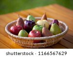 a basket of fruit with apples... | Shutterstock . vector #1166567629