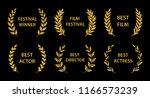 film awards. gold award wreaths ... | Shutterstock .eps vector #1166573239