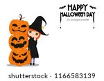illustration happy halloween... | Shutterstock .eps vector #1166583139