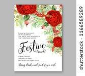 marsala peony wedding invitation   Shutterstock .eps vector #1166589289