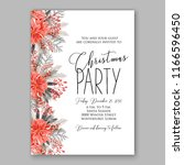 red poinsettia christmas party...   Shutterstock .eps vector #1166596450