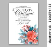 red poinsettia christmas party...   Shutterstock .eps vector #1166596453