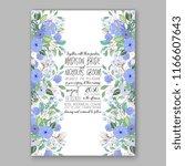 blue peony wedding invitation   Shutterstock .eps vector #1166607643