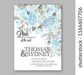 blue peony wedding invitation   Shutterstock .eps vector #1166607706