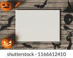 halloween holiday poster mock... | Shutterstock . vector #1166612410