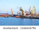 bulk cargo ship under port... | Shutterstock . vector #1166616796