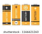 a set of four yellow batteries. ... | Shutterstock .eps vector #1166621263