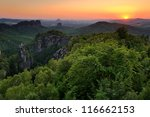 sunset in a landscape with the... | Shutterstock . vector #116662153