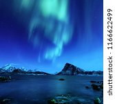 northern lights  aurora... | Shutterstock . vector #1166622499