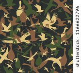seamless camouflage with flying ... | Shutterstock .eps vector #1166622796
