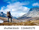 tourist with a backpack and... | Shutterstock . vector #116663170