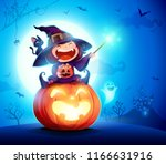 halloween little witch. girl... | Shutterstock .eps vector #1166631916