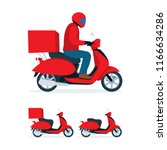 delivery scooter. delivery man... | Shutterstock .eps vector #1166634286
