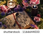 still life with old book with... | Shutterstock . vector #1166644033