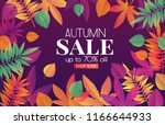trendy fall sale poster with... | Shutterstock .eps vector #1166644933