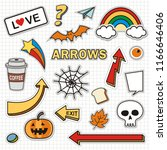 set of stickers  fashion patch... | Shutterstock .eps vector #1166646406