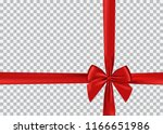 red bow shiny satin and ribbon... | Shutterstock .eps vector #1166651986