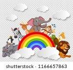 animal on the rainbow... | Shutterstock .eps vector #1166657863