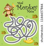 mad monkey finding banana... | Shutterstock .eps vector #1166657866